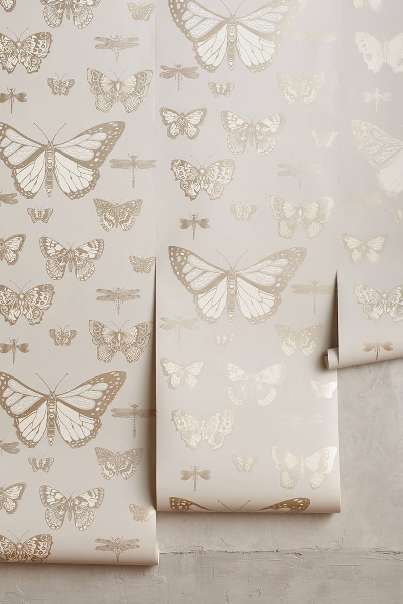 Neutral Butterfly Wallpaper for Nursery