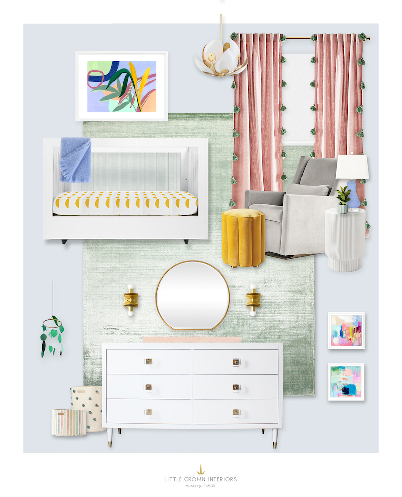 Colorful nursery design by Little Crown Interiors