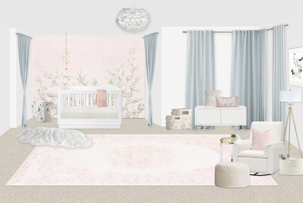Pink Floral Girl's Nursery Design by Little Crown Interiors