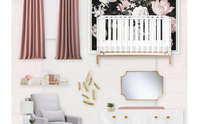 Dark Floral Girl's Nursery E-Design Reveal
