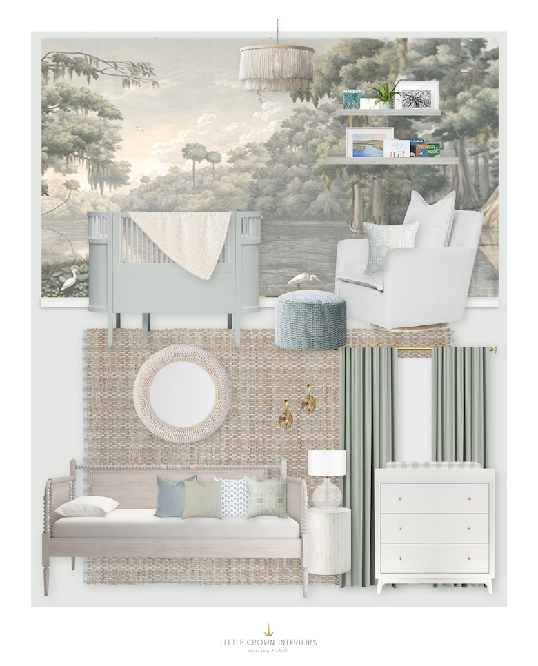 Neutral Southern Jungle Nursery Design by Little Crown Interiors