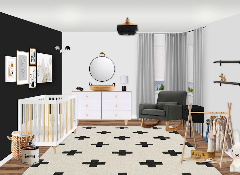 Black and White Scandinavian Nursery E-Design