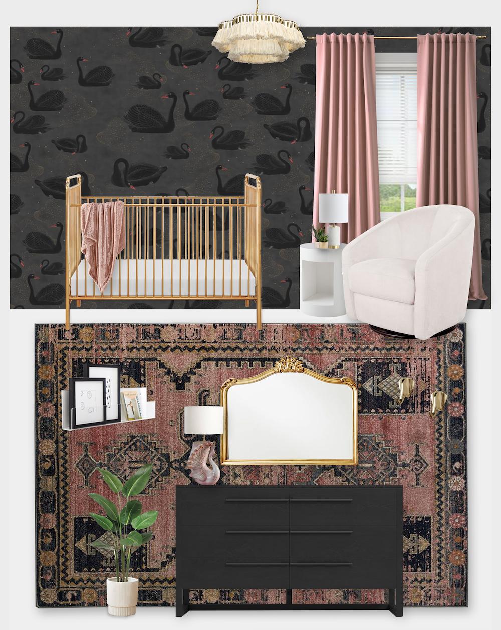 Black Swan Nursery by Little Crown Interiors