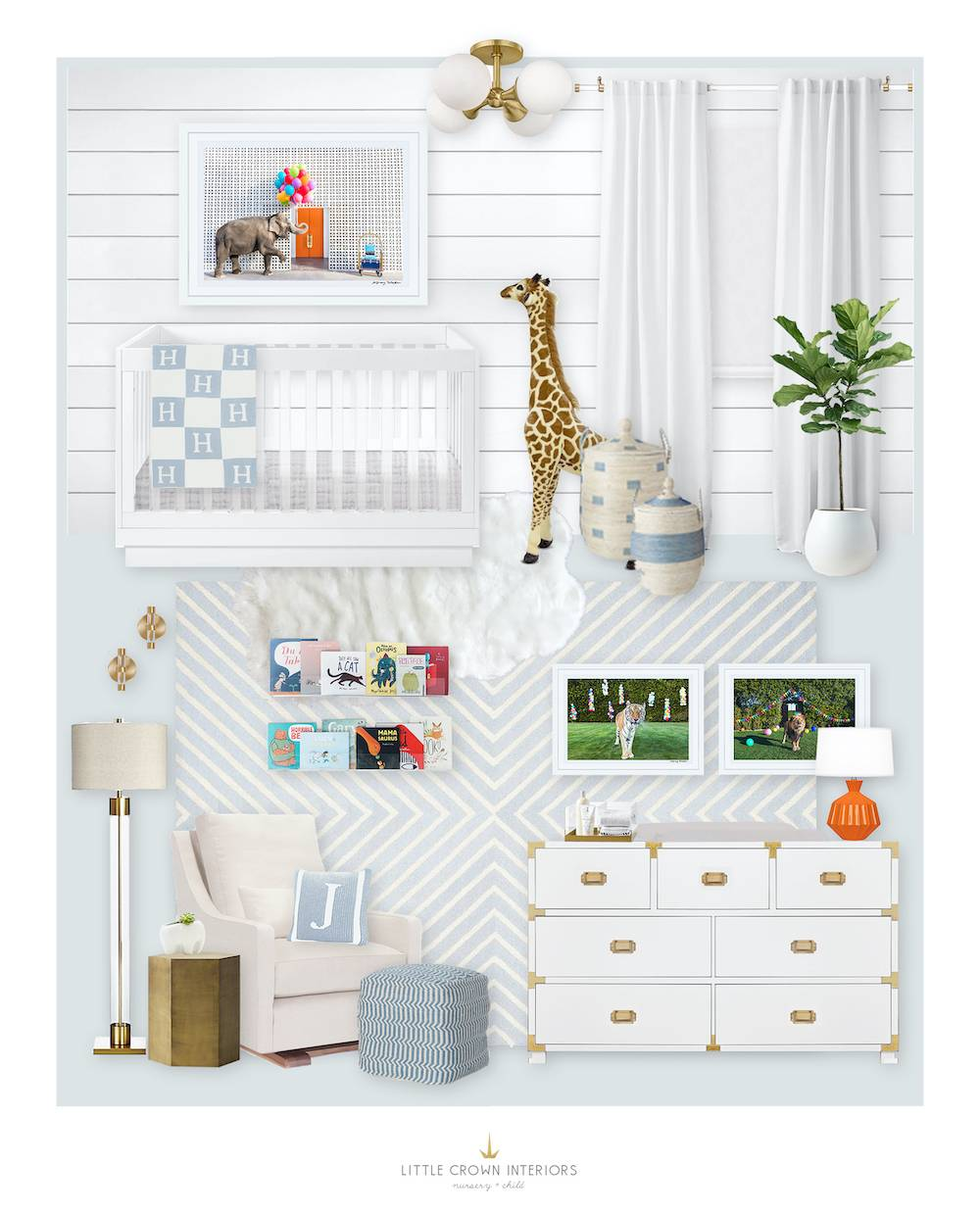 Boy Light Blue Modern Nursery E-Design