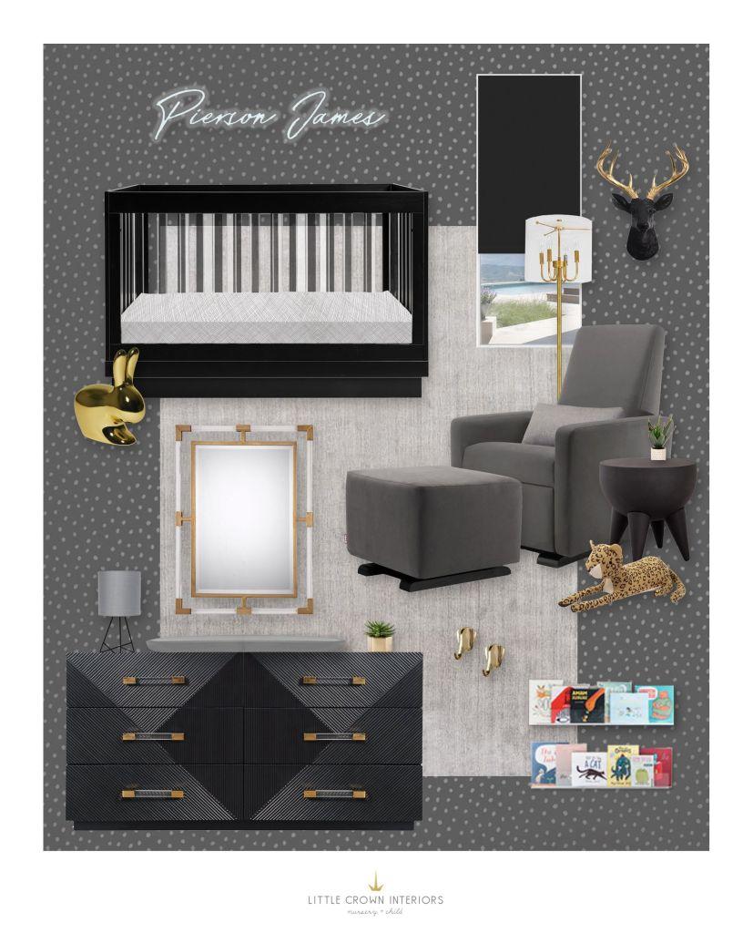Black Gold and Gray Nursery Design