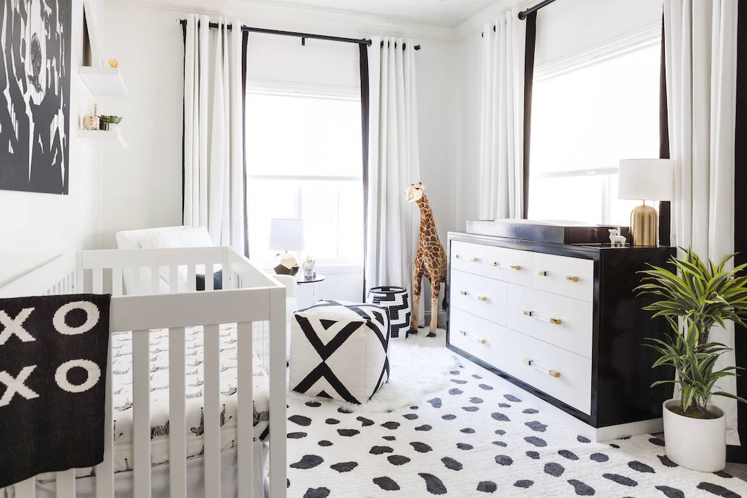 Black and White Nursery by Little Crown Interiors