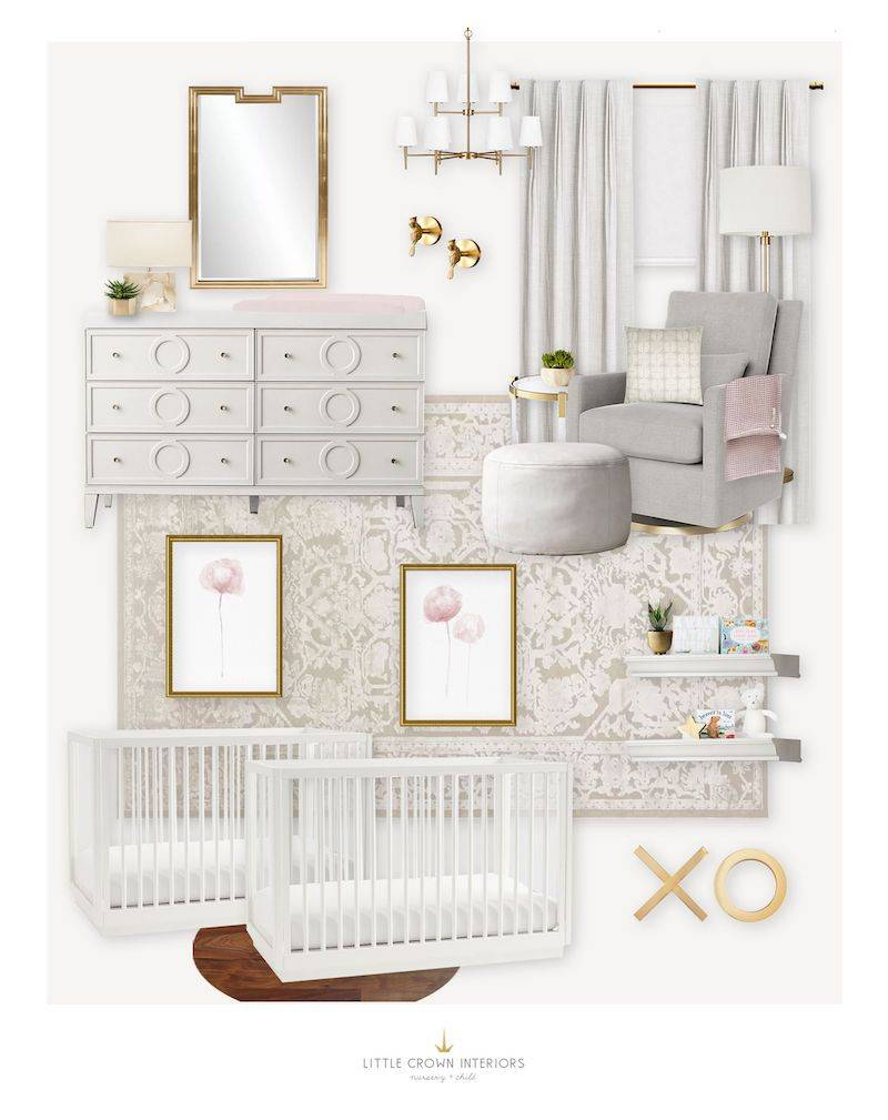 E-Design Reveal White and Gold Twin Nursery