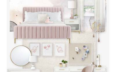 E-Design Reveal: Blush and Gold Girl's Bedroom