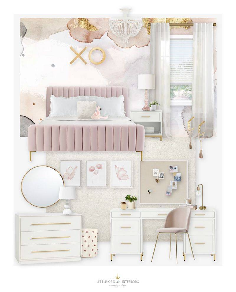 E-Design Sophisticated Blush and Gold Girl's Bedroom