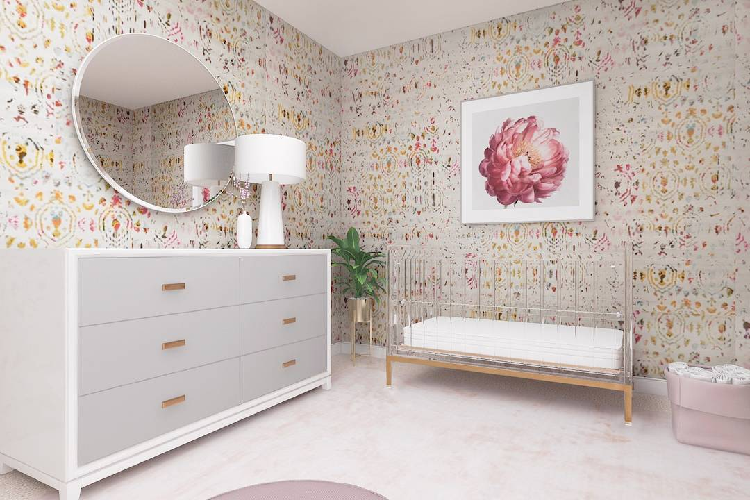 Floral Nursery Art with Colorful Wallpaper