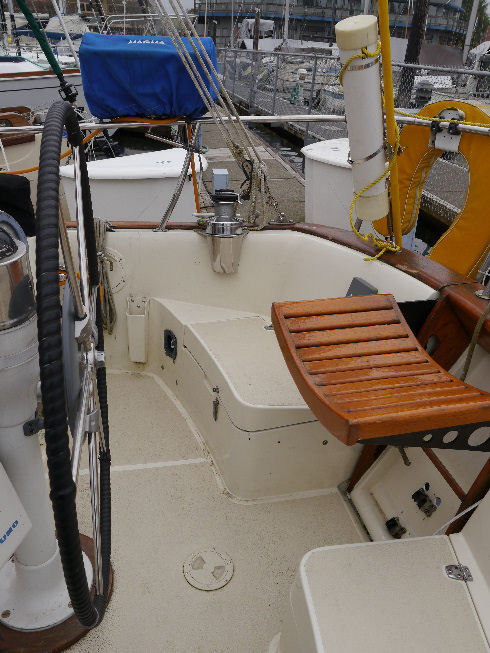 The seat area of the stern fold down for easy access to your dinghy.