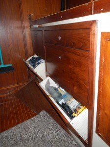 Tip out drawers at the bottom provide storage of smaller, lighter items.