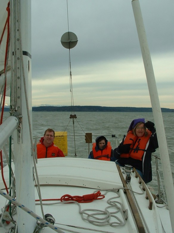 Our first family sail aboard Saucy Sue, our Catalina 27. Andrew was 12.