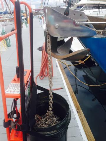 Having a double anchor roller allowed us to secure one anchor and use the other roller to deploy chain into the trashcan.