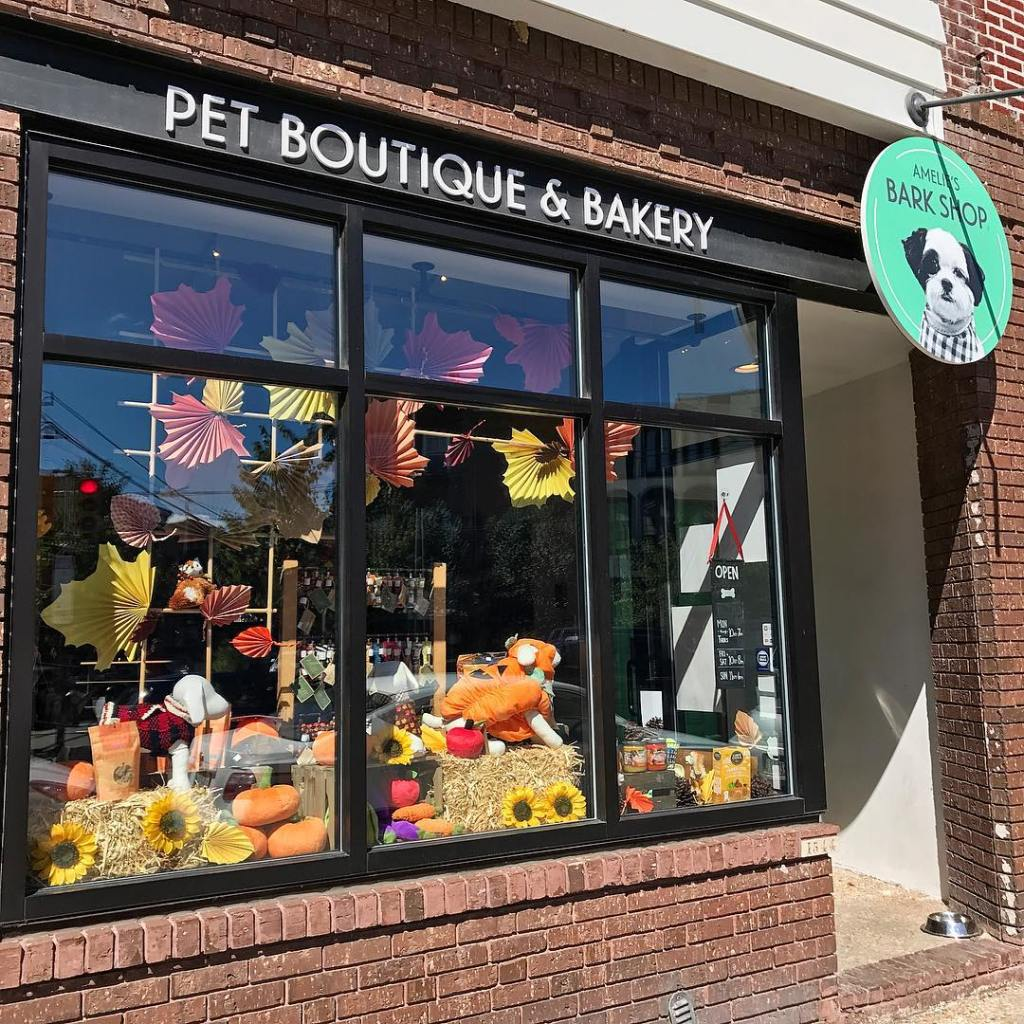 """""""Pet Boutique & Bakery"""" is written above the storefront window, which features fall-themed pet goods and accessories, including a stuffed dog wearing a pumpkin costume"""