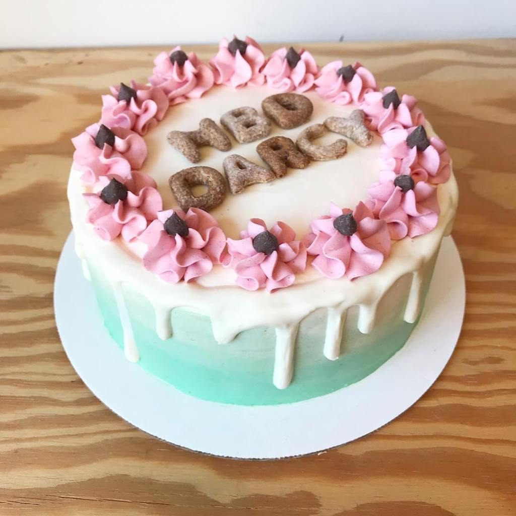 """A small round cake with ombré blue icing down the sides is decorated on top with pink icing flowers. Dog biscuits in the middle are shaped like letters and read: """"HBD Darcy"""""""