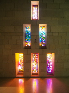 Stained glass windows in the Basilica of the Annunciation