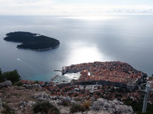 View of Dubrovnik for the mountain with the cable car