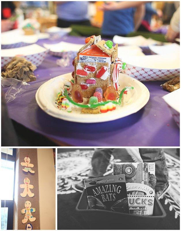 Building graham cracker gingerbread houses in kindergarten.
