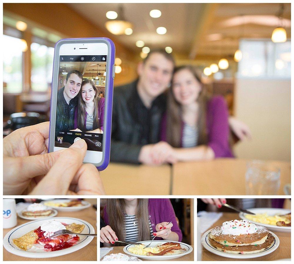 Celebrating my daughter's engagement at IHOP. We will have *more* family in New Zealand!