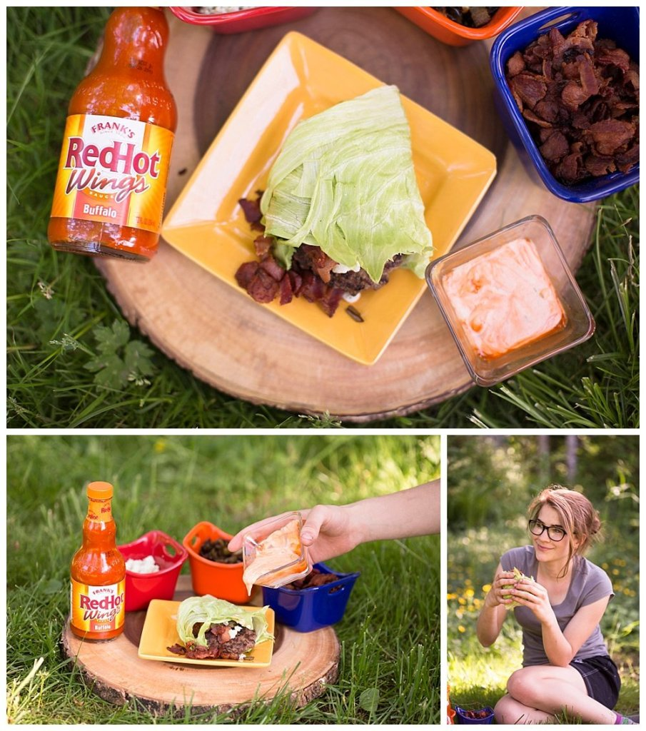 Enjoy the perfect family cookout with these Spicy Lettuce Wrapped Buffalo Burgers using Franks RedHot Buffalo Sauce.