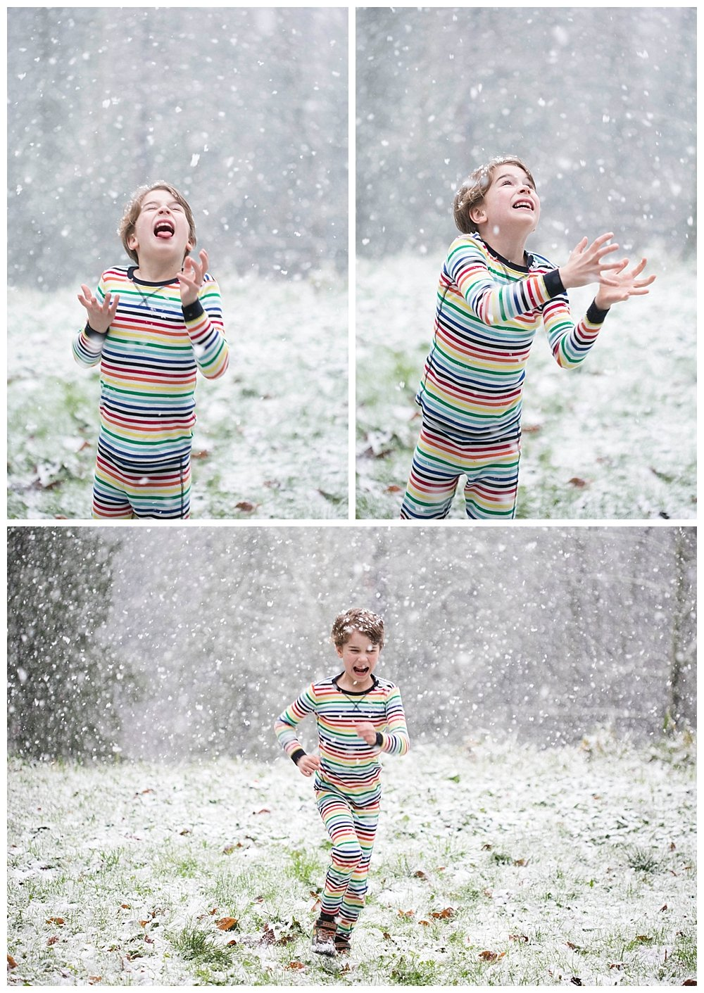 Enjoying some unexpected snow here in the Pacific Northwest...in Apollo's favorite Primary pajamas!