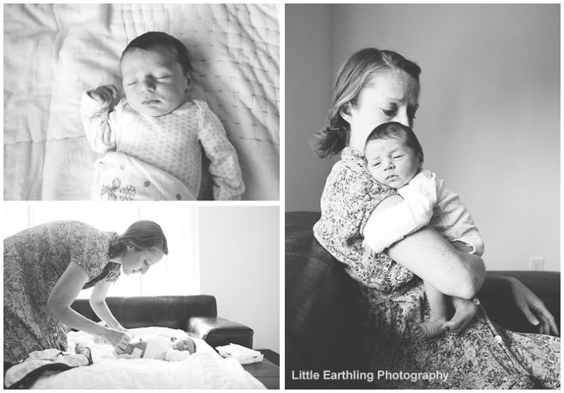 mom caring for newborn baby during lifestyle newborn session