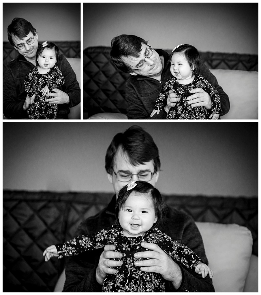 Baby and daddy at six month milestone session.
