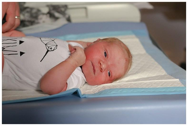 Blonde newborn baby.