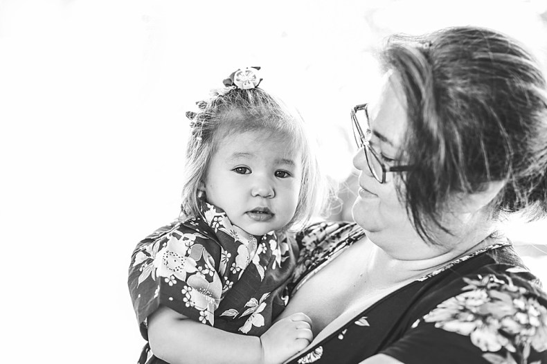 Black and white portrait of asian mother and daughter. Bellingham Photographer Renee Bergeron