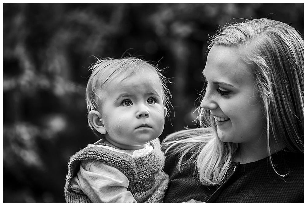 Black and white portriat of mother and baby.
