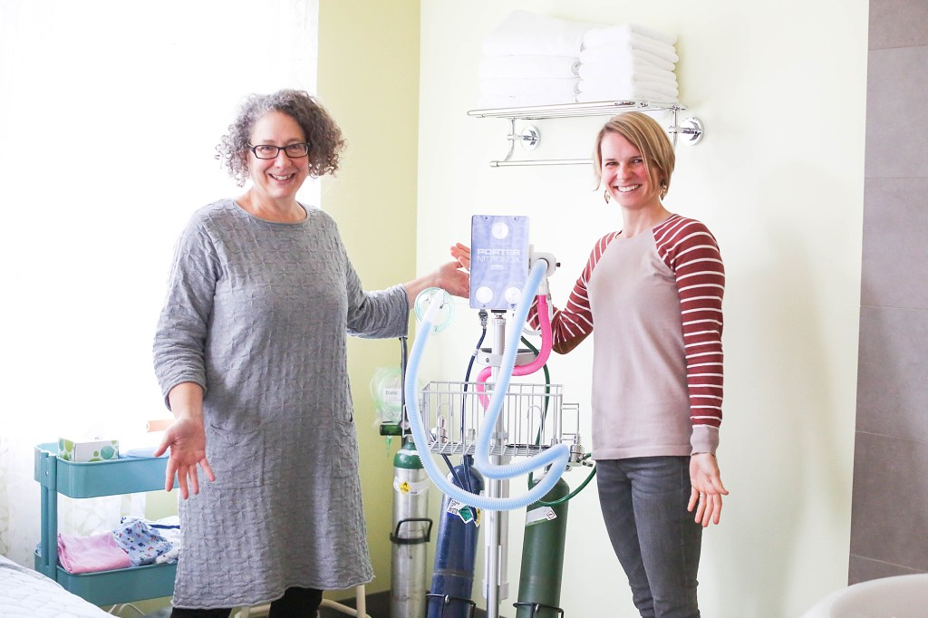 Birthroot midwives, Ann Tive and Sarah Day show off their nitrous machine!