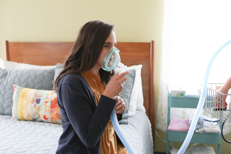 Molly Siemears of Doulas of Bellingham tries out the nitrous mask.
