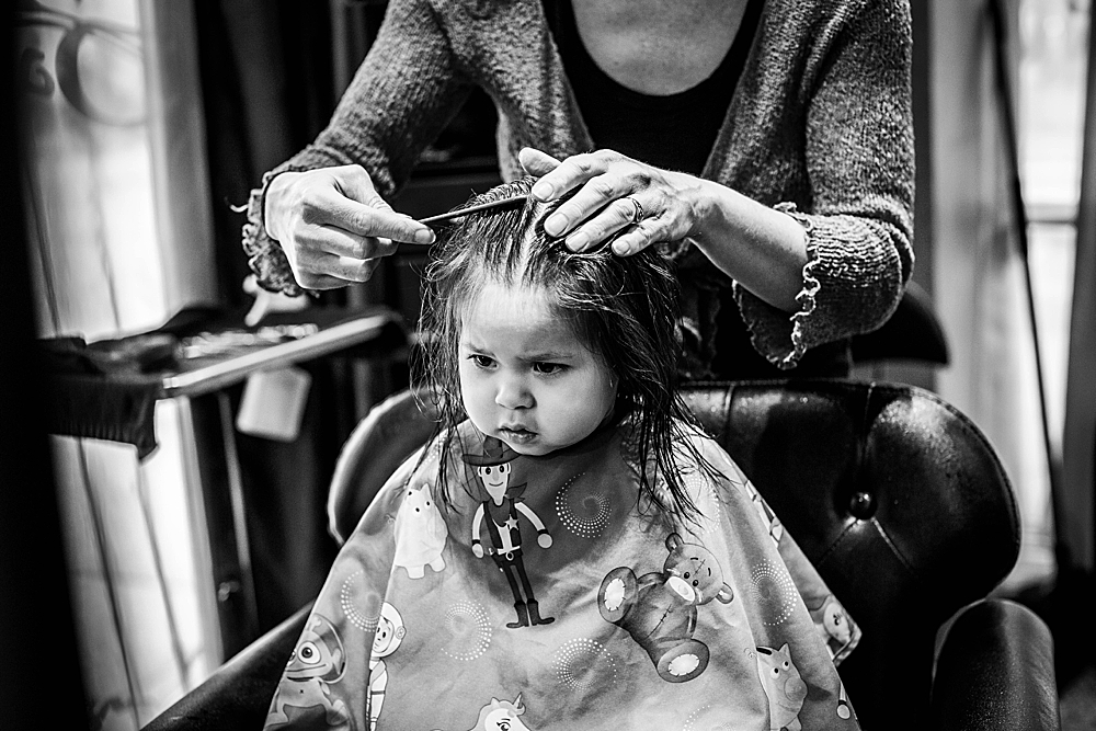 Erin was so very patient during her haircut.