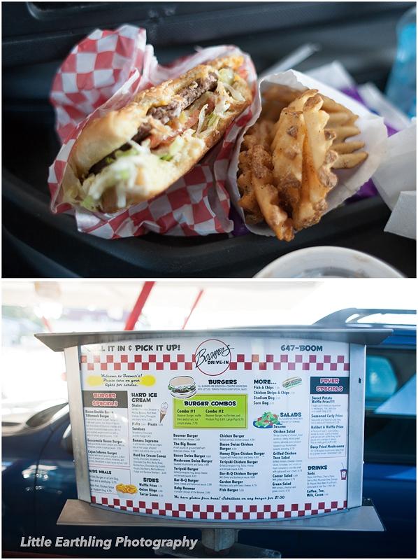 Hamburger and waffle fries at Boomer's Drive-In