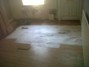 Laminate floor & underlay on floor tiles