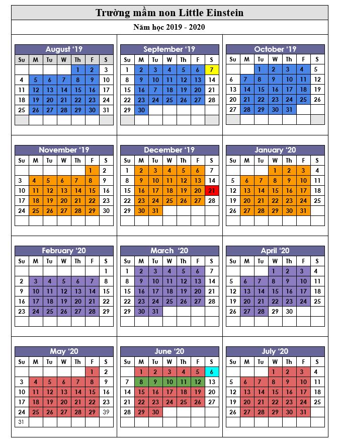 lịch học 2020