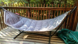 Couples hammock at the Golden Oak Hideaway at Forest Holidays