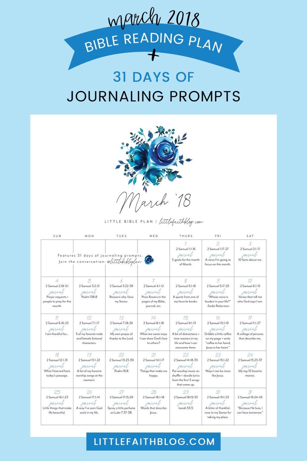 March 2018 Bible Reading Plan + 31 Days of Journaling Prompts for Your Bible, Journal or Little Faith Book!