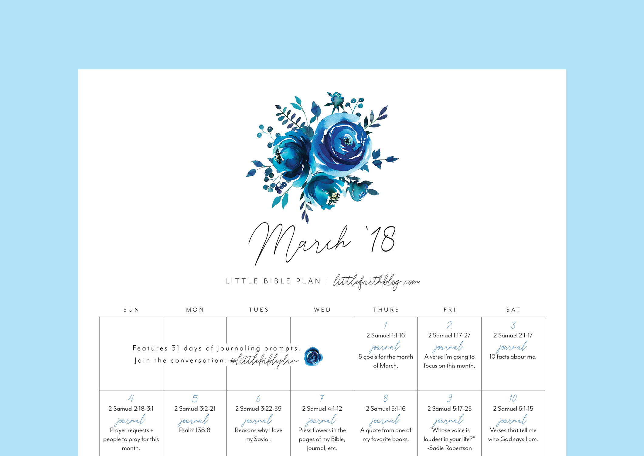 March 2018 Bible Reading Plan + 31 Days of Journaling