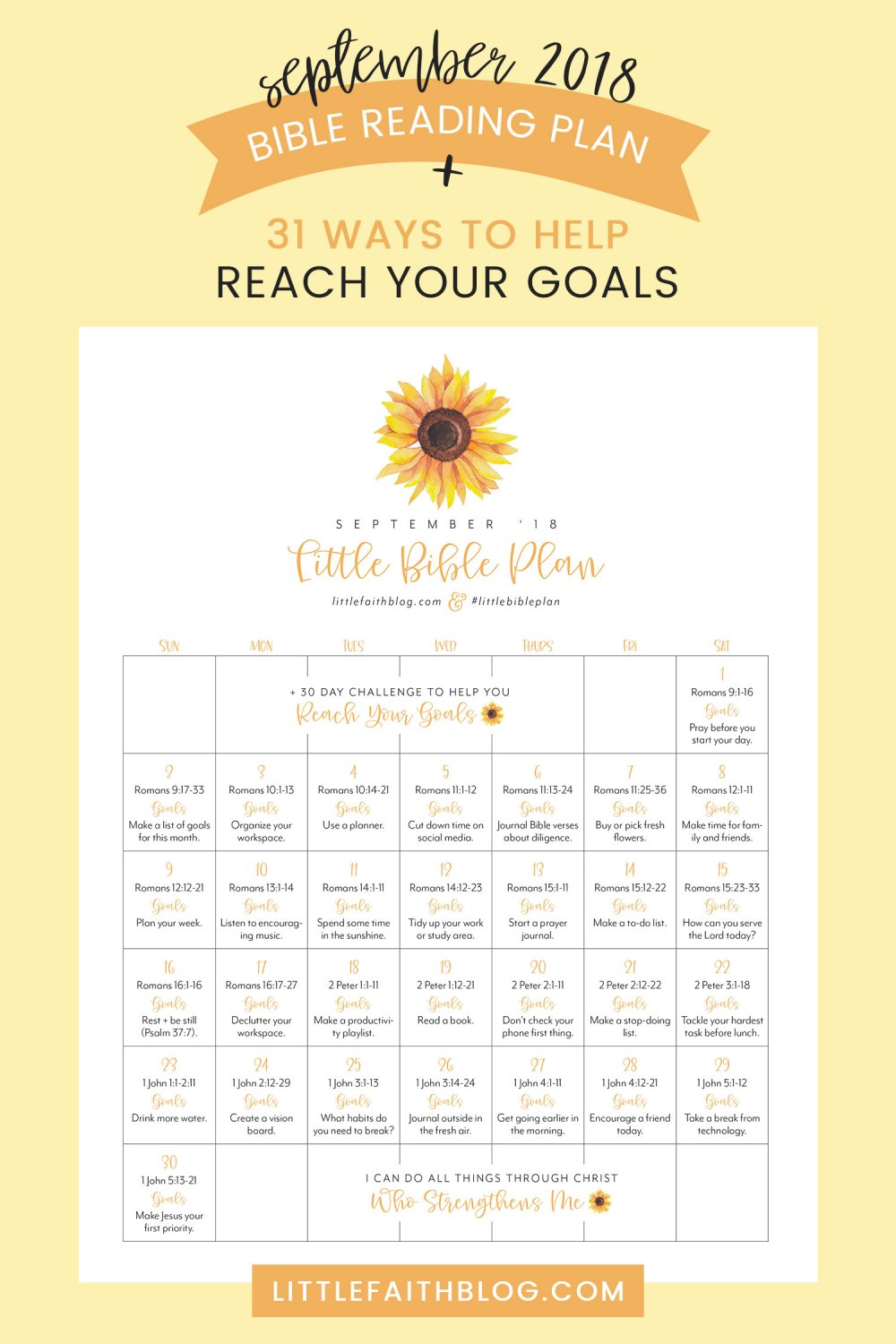 September 2018 Bible Reading Plan + 30 Ways to Boost Productivity and Help You Reach Your Goals!