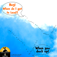 Hey! When do I get to lead? When you duck up!