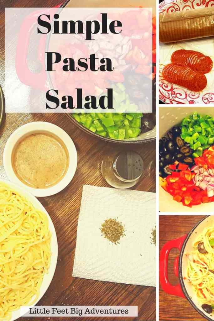 Simple and easy pasta salad recipe. Perfect for on-the-go lunches and picnics.