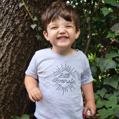 Little Feminist grey kid's shirt in action