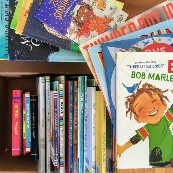 Bookshelf with children's books