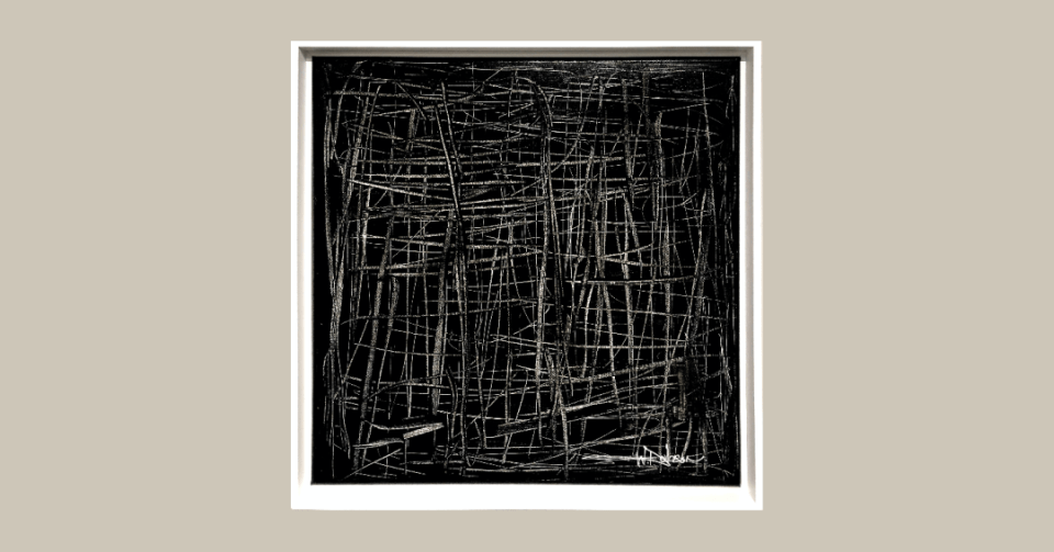 black and white square abstract painting with white frame