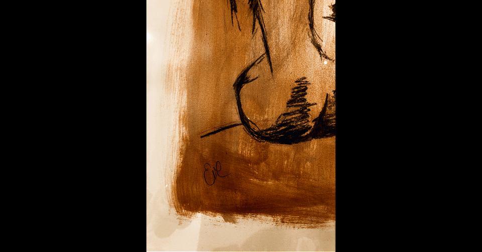 small detail of gold sitting nude painting