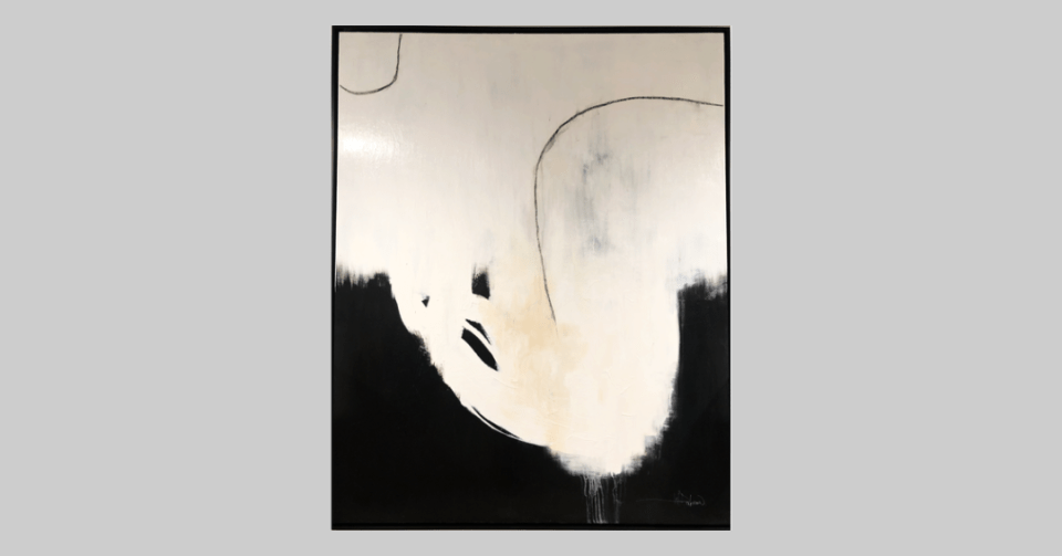 black and white large-scale abstract painting