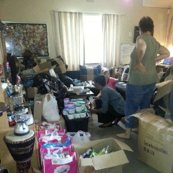 Sorting goods for Bags of Hope
