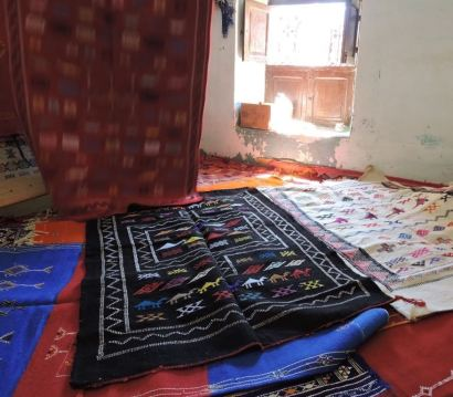 Patterned Berber carpets laid out for display